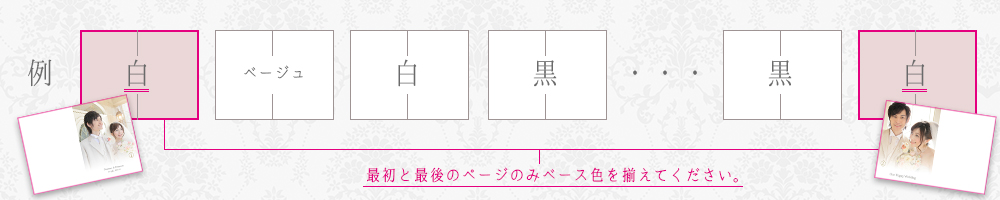 最初と最後のページのみピンク枠で囲まれたレイアウトの中からベース色を揃えて1セットとして、お選び下さい。
