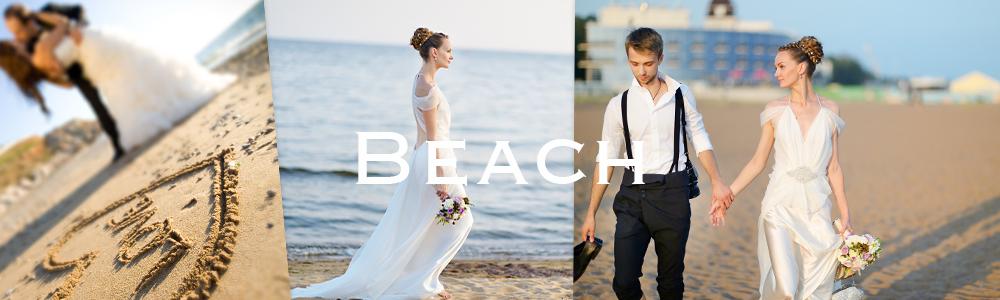 ビーチサイドでの写真はリゾートウエディングならでは。砂浜も利用して素敵な写真を撮りましょう